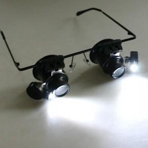 Kacamata pembesar loupe 20x ada led