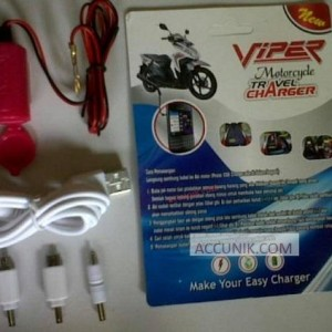 Jual motorcharger portable USB Charger smartphone 3in1 Viper