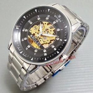 Jam Tangan otomatis Rolex Skeleton Omega Rantai Silver Black