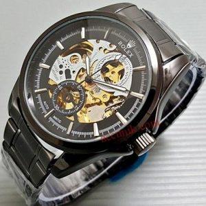 Jam tangan Rolex La Veccha Signora Full Black rantai otomatis