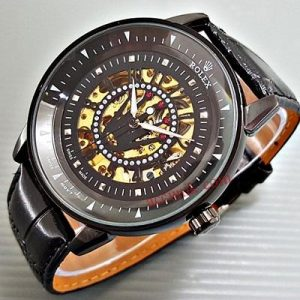 Rolex matic jam tangan kulit black (Spesial) transparan