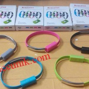 Kabel Data USB ke MicroUSB Bracelet Gelang warna warni