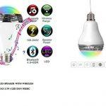 Speaker Bluetooth Lampu LED FM radio Remote Fleco