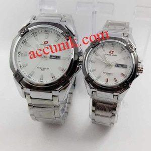Jual Jam tangan Swiss Amry R5169 Full white / putih rantai (115)