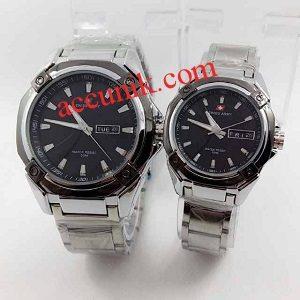 jual murah Jam tangan Swiss Amry R5169 Kombi hitam putih rantai (115)