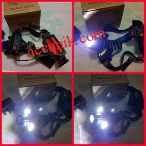 senter kepala 2 LED t6 zoom type 150 headlight termurah