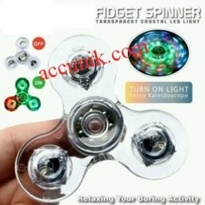 fidget spinner transparan LED light bening