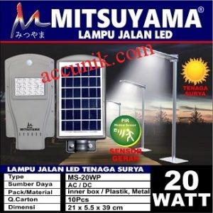 Jual lampu jalan PJU tenaga matahari 20 watt murah meriah + sensor