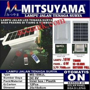 Jual lampu jalan tenaga matahari solar panel + remote mitsuyama 18 watt