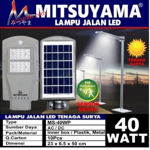 Jual lampu jalan tenaga matahari murah solar panel 40 watt riah + sensorPJU