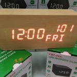 Jual Jam meja digital murah unik thermometer kayu wood clock panjang coklat