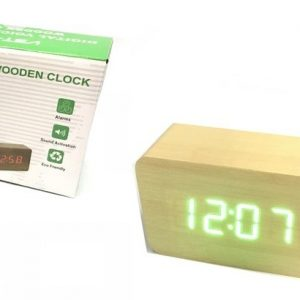 Jual jam digital clock wood model kayu tangung cream Led Hijau