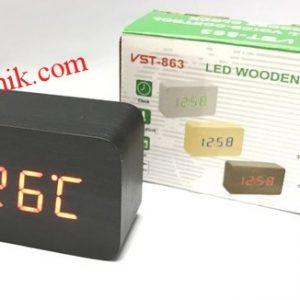 jual jam unik meja digital wood tangung hitam led merah ada alarm thermometer