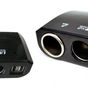 jual adapter Car Charger Splitter 2 soket 2 USB GSP Cigarette Lighter