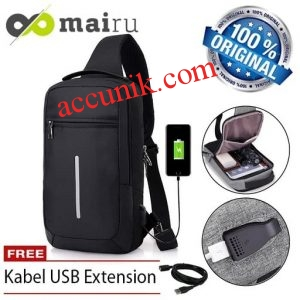 Jualtas slempang USB tas pria anti air USB mairu original import XDE DGP