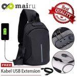 jual murahtas slempang usb mairu 0603 original tas USB anti air waterproof DGP