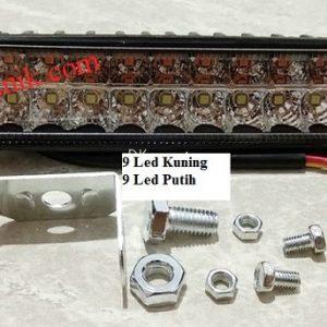 Lampu tembak mobil motor LED Bar 18 LED cahaya kuning dan putih 12 – 80Volt (DC)